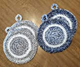 Hand Crocheted Large Round Potholders, Double Thick Cotton, set of two, granite gray wash or denim wash