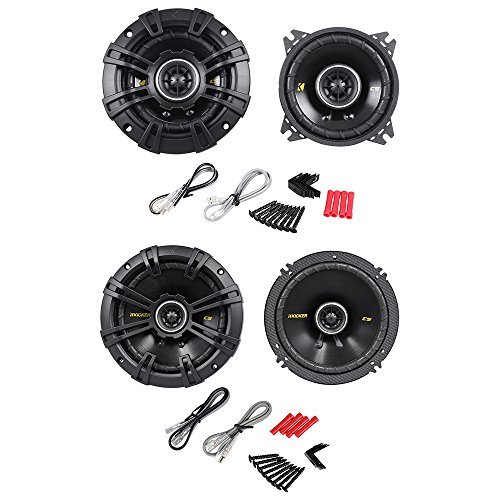 Package: Pair of Kicker 40CS44 4'' 4-Ohm 2-Way Car Audio Coaxial Speakers Totaling 300 Watt + Kicker 40CS654 6.5'' 4-Ohm 2-Way Car Audio Coaxial Speakers Totaling 600 Watt