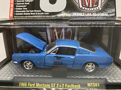 M2 Machines Detroit-Muscle 1966 Ford Mustang GT 2+2 Fastback 1:64 Scale MTS01 14-19 Blue Details Like NO Other! 1 of 6000 (Muscle Machines)