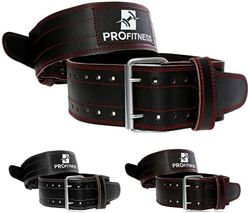 ProFitness Genuine Leather Workout Belt (4 Inches Wide) – Proper Weight Lifting Form – Lower Back Support for Squats, Deadlifts, Cross Training