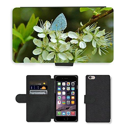 "Just Phone Cases PU Leather Flip Custodia Protettiva Case Cover per // M00128294 Ordinaires de Blue Butterflies // Apple iPhone 6 PLUS 5.5"""