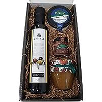 Cesta de productos gourmet para Navidad con aceite de oliva virgen extra 250 ml en vidrio, crema de queso de oveja…