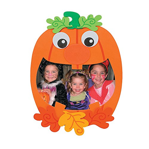 Fun Express - Pumpkin Picture Magnet Craft for Halloween - Craft Kits - Stationary Craft Kits - Frame - Halloween - 12 Pieces