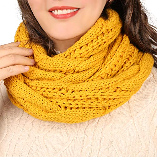 Infinity Scarf for Women Winter Warm Knit Circle Loop Chunky Scarves for Ladies, Musturd Yellow