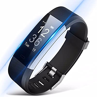Fitness Tracker ID115HR PlUS, Smart watch, Heart Rate Monitor Activity Tracker with Connected GPS Tracker, Step Counter, Sleep Monitor, IP67 Waterproof Bluetooth Pedometer for Android and iOS