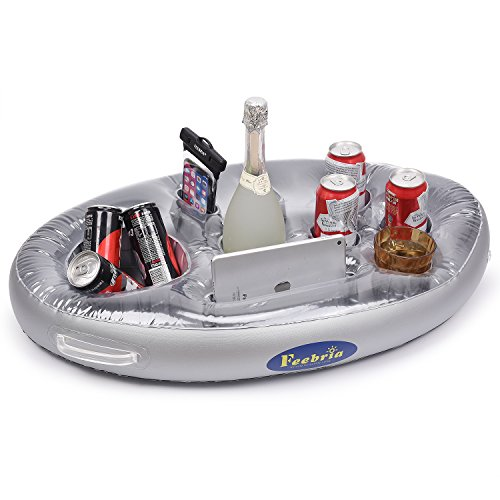 FEEBRIA Inflatable Floating Drink Holder with 9 Holes Large Capacity & Transparent Material,Drink Float for Pool Party Beach (Single)