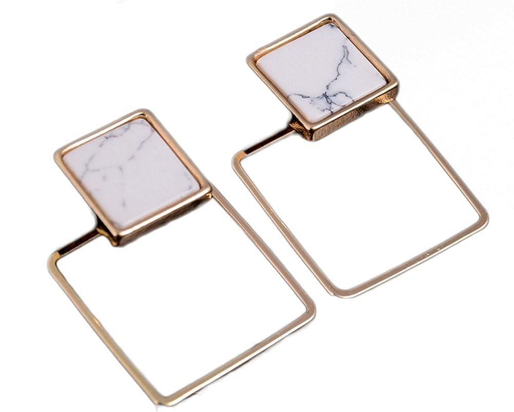 Demarkt Marble Earrings Double Geometry Simple Elegant Silver Earrings Drop Earrings Detachable for Women