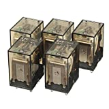 uxcell 5Pcs DC 12V Coil 3A 240VAC/28VDC 4PDT 4NO+4NC 14Pin Power Electromagnetic Relay with Indicator Light