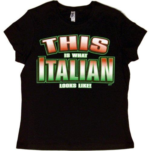 JUNIORS T-SHIRT : BLACK - L - This is What Italian Looks Like - Ethnic -