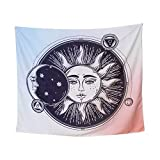 """Traditional Psychedelic Celestial Sun Moon Tapestry, Indian Mandala Tapestry, Indian Hippie Wall Hanging (57""""x49"""")"""