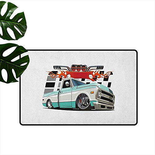 - RenteriaDecor Truck,Printed Floor Mats Lowrider Pickup with Racing Flag Pattern Background Speeding on The Streets Modified 20