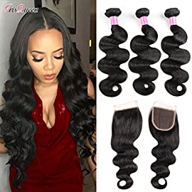 Iris Queen Hair Brazilian Body Wave Human Hair Bundles with Closure (16 18 20+14 Free Part) Body Weave 3 Bundles with Lace Closure Unprocessed Virgin Hair Extensions Double Weft Natural Color