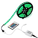 EPBOWPT 5M(16.4ft) Waterproof Flexible Color Changing RGB SMD5050 300 LEDs Light Strip Kit with 24 Key Remote Controller and 12V 5A Power Supply