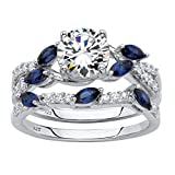 Platinum over Sterling Silver Cubic Zirconia and Lab Created Blue Sapphire Vine Bridal Ring Set Size 9