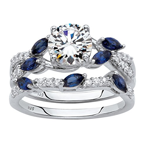 Platinum over Sterling Silver Cubic Zirconia and Lab Created Blue Sapphire Vine Bridal Ring Set Size 9 by Palm Beach Jewelry