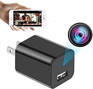 Mini Hidden Camera USB Charger Spy Cam WiFi Small Wireless Full HD 1080P Video Camera with 32G Card for iOS Android Video Detection Security Nanny Surveillance Cam