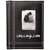 "Pioneer Photo Albums Sewn Leatherette Embroidered ""Live, Laugh, Love"" Frame Cover Brag Book, Black"
