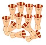 IndianArtVilla Set of 12 Pure Copper Shot Glass Jiggers 50 ML each - Serving Vodka Taquila Drinkware Bar Hotel Restaurant Tableware