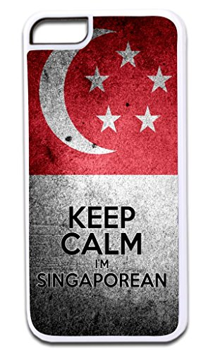 Keep Calm I'm Singaporean-Print Design TM Apple Iphone 4, 4s White Plastic Case Made in the U.S.A.