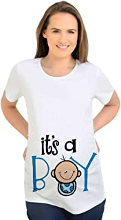 Battercake Womens Top for Pregnant Cozy Fashion Short Round Casual Women Neck Sleeve Funny Maternity Clothes Boy Printed Pregnant T Shirt Maternity Blouse