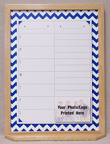Navy & White Chevron Print One Week Calendar / Menu Planner Framed Dry Erase - Centers Shopping Cod Cape
