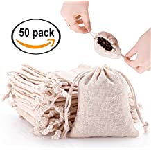 50pcs Small Cotton Double Drawstring Bags Reusable Muslin Cloth Gift Candy Favor Bag Jewelry Pouches for Wedding DIY Craft Soaps Herbs Tea Spice Bean Sachets Christmas, 4.5x4.0 inch