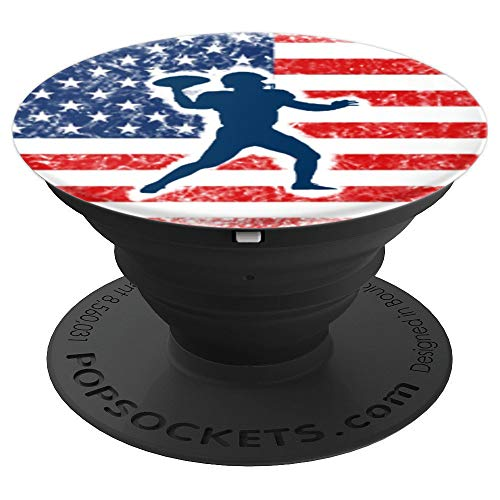 FOOTBALL QUARTERBACK PLAYER USA AMERICAN FLAG SPORT FAN Gift - PopSockets Grip and Stand for Phones and Tablets