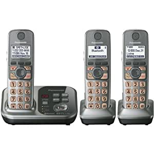 Panasonic KX-TG7733S DECT 6.0 Link-to-Cell via Bluetooth Cordless Phone with Answering System, Silver, 3 Handsets