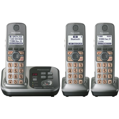 Panasonic KX-TG7733S DECT 6.0 Link-to-Cell via Bluetooth Cordless Phone with Answering System, Silver, 3 Handsets (Panasonic Cordless Phones Silver compare prices)