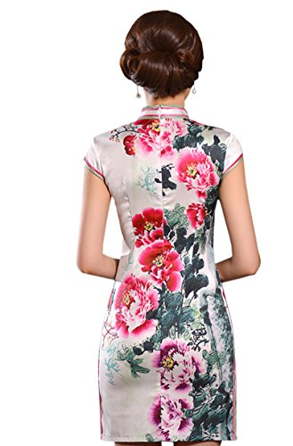 ACVIP Vestito Cinese Tradizionale Abito a Fiori Stampati a Maniche Corte