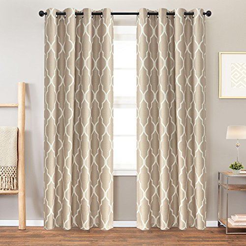 jinchan Linen Fabric Curtains Room Darkening Window Treatment Set for Bedroom Quatrefoil Flax Blend Textured Lattice Grommet Window Treatment Set for Living Room Curtain,63