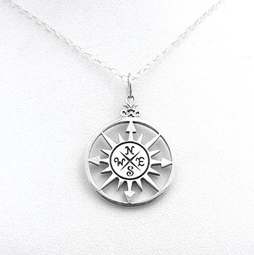 Compass Rose Sterling Silver Nautical Necklace Charm Ocean Navigation Jewelry (16 Inches)