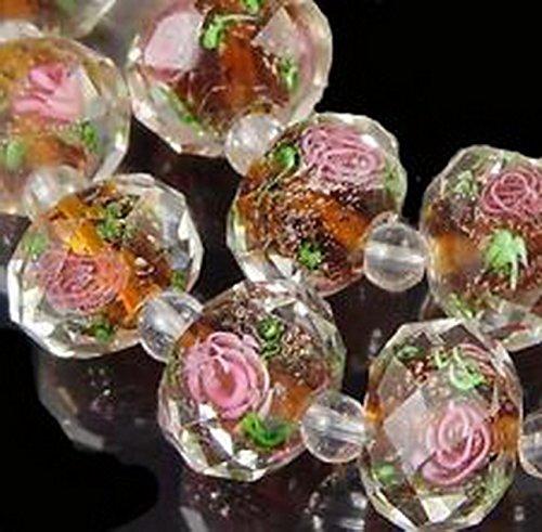 Glamorise Beads #13261 14 Czech Glass Faceted Rondelle Beads - Encased Rose Flower topaz 12x8mm ()