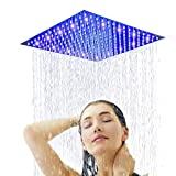 Sd LED 12-inch Brushed Nickel Rainfall Shower Head Bathroom Square Top Sprayer, Large Stainless Steel Shower Head,Ultra Thin Rainfall Bath Shower with Silicone Nozzle