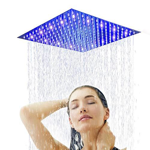 Suguword 12 Inch Led Rain Shower Head Brushed Nickel
