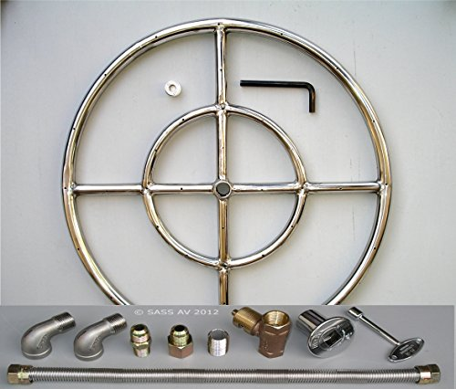 Fire Pit Burner Ring, 24'' Diameter Stainless Steel 2 Elbows Kit with Connector by Fireplace Glass San Diego