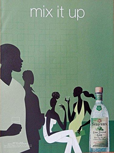 (Seagram's Extra dry Gin, Vintage Print Ad. Color Illustration (mix it up) Original Magazine Art)
