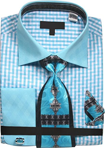 Gingham Pattern Shirt with Tie Handkerchief Cufflinks - Aqua 18.5 3435 ()