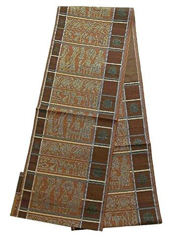 昇進ズームあさりリサイクル 名古屋帯  横段に壁画調の意匠 正絹