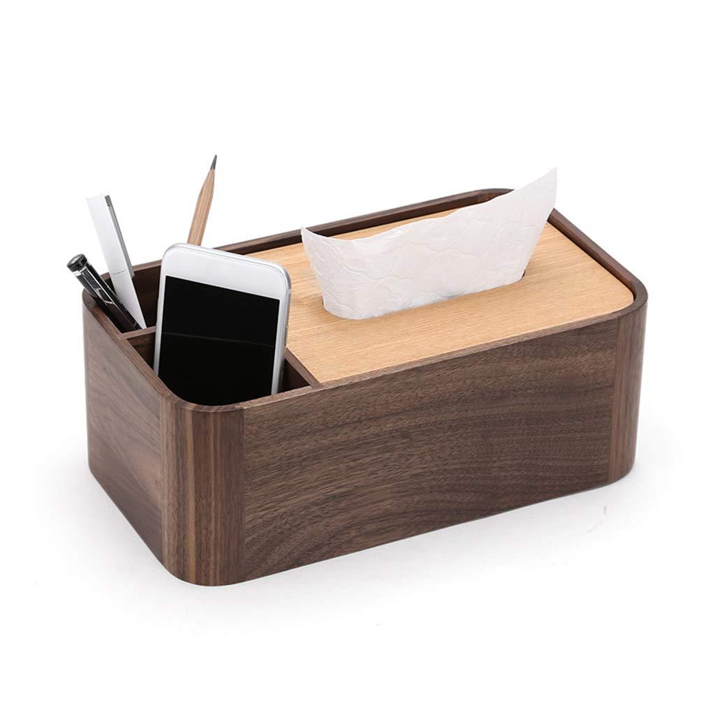 GWM 純木ホームリビングルームティッシュホルダーボックス多機能リモコン携帯電話収納ボックスレストランティッシュボックス、26×15×9.7センチ、ウッドカラー B07TTN7LW6