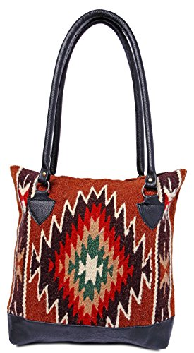 Genuine Leather Large Eco Friendly Tote Bag, Native American Styles on Hand-Woven Wool (Dark Earth J)