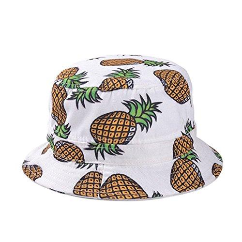 [Girls Ladies Headwear Pineapple pattern Wide Rim Flat top fishing Bucket Hat Sun Hat (White)] (Fruit Hat Lady)