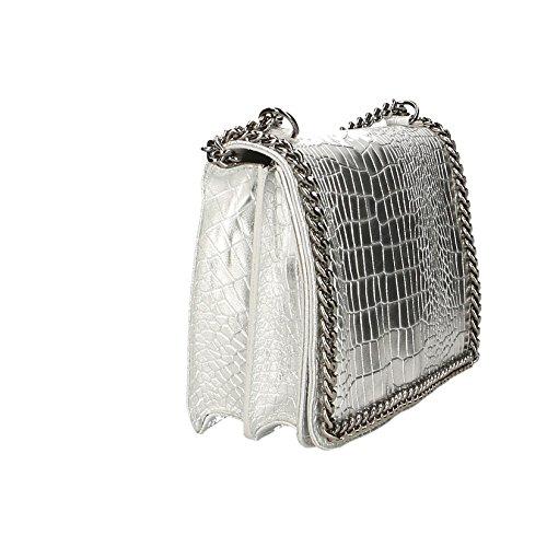 Chicca Borse Mujer de embrague bolso pequeño con correa para el hombro, patrón de Croco, cuero auténtico Made in Italy - 30x20x10 Cm Plata