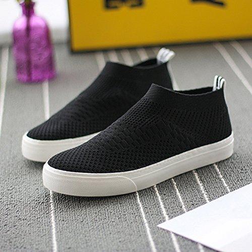 traspiranti punta estiva scarpe da donna casual EU39 di nero Nero dimensioni CN39 rotonda UK6 Nero confortevole bianco basse Scarpe Colore NAN tela wzpvWv