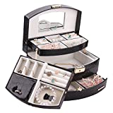 Generic YC-US2-160428-94 <8&35361> ay Box Vintage Tra Vintage Travel Black Jewelry Box Case Watch Trinket Ring Necklace Display Box Black Jewel