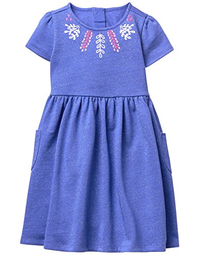 Gymboree Toddler Girls' Dot Embroidered Dress, Purple Posey, 5T (Posey Pocket)