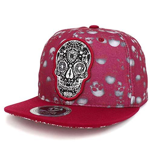 Dia De Los Muertos Shop (Trendy Apparel Shop Dia de Los Muertos Day of Dead Skull Embroidery Snapback Cap -)