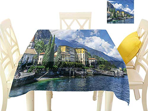 Como Kitchen - Davishouse Easy Care Tablecloth Landscape of Lake Como for Kitchen Dinning Tabletop Decoration W60 x L60