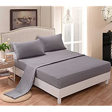 The Candor 800tc 4pc Sheet Set Call King Size Light Grey Solid Color 100% Egyptian Cotton Easy Care