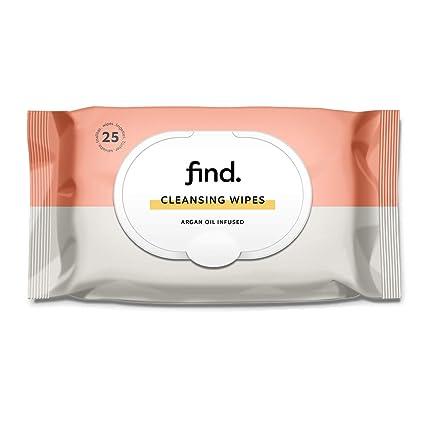 FIND - Toallitas desmaquilladoras con Aceite de Argán (Adecuadas para pielese secas)- 6x25 (150 toallitas)